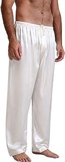 Men's Pyjama Bottoms Satin Silk Trousers Soft Comfy Lounge Pants Loungewear Sleepwear