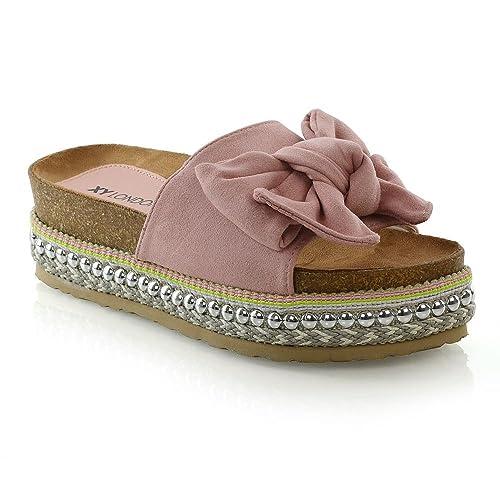 514a911908f ESSEX GLAM Womens Bow Flatform Sandals Peep Toe Ladies Pearl Stud Wedges  Shoes Platform