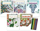 Coloring Book Gift Pack: 5 Adult Coloring Books | Oceans Coloring Book, Nature Coloring Book, Animals Coloring Book, ZenDoodle Coloring Book & Patterns Coloring Book | Includes 10 Colored Pencils