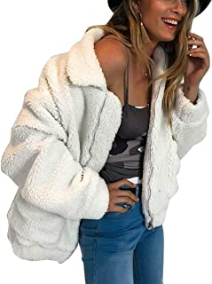 Choichic Sherpa Jacket Women - Winter Coats Fluffy Lapel Zip Up Faux Shearling Shaggy Jacket Warm Winter