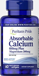 Puritan's Pride Absorbable Calcium 600mg plus Magnesium 300mg, Softgels, 60ct