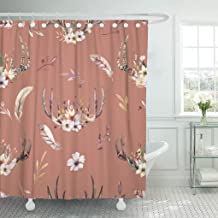 Emvency Shower Curtain Bohemiamn of Watercolor Floral Boho Antler Western Vintage Deer Shower Curtains Sets with Hooks 72 x 72 Inches Waterproof Polyester Fabric