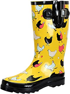 SheSole Waterproof Wide Calf Tall Garden Rain Boots Yellow Chicken Printed