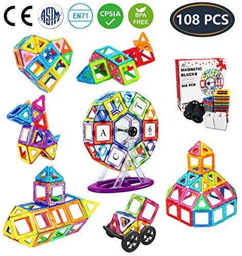 Jasonwell 108 Pezzi Blocchi Costruzioni Magnetici Magnetiche Giocattoli per Bambini Magneti Giocattolo Educativi Kit Accatastamento