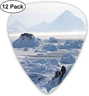 Guitar Picks 12-Pack,Arctic Winter With Ice Lake Photo From The Northern Part Of World Cold Wilderness