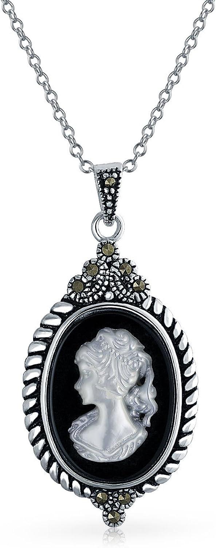 Time sale Regular dealer Vintage Style Black Mother of Shell Victorian Pearl Craved White