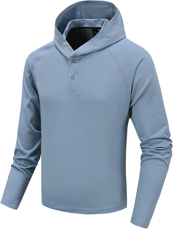 JVL men's sweatshirt is breathable, quick-drying, waterproof, oil-proof button long-sleeved hoodie sunscreen+UPF 50+