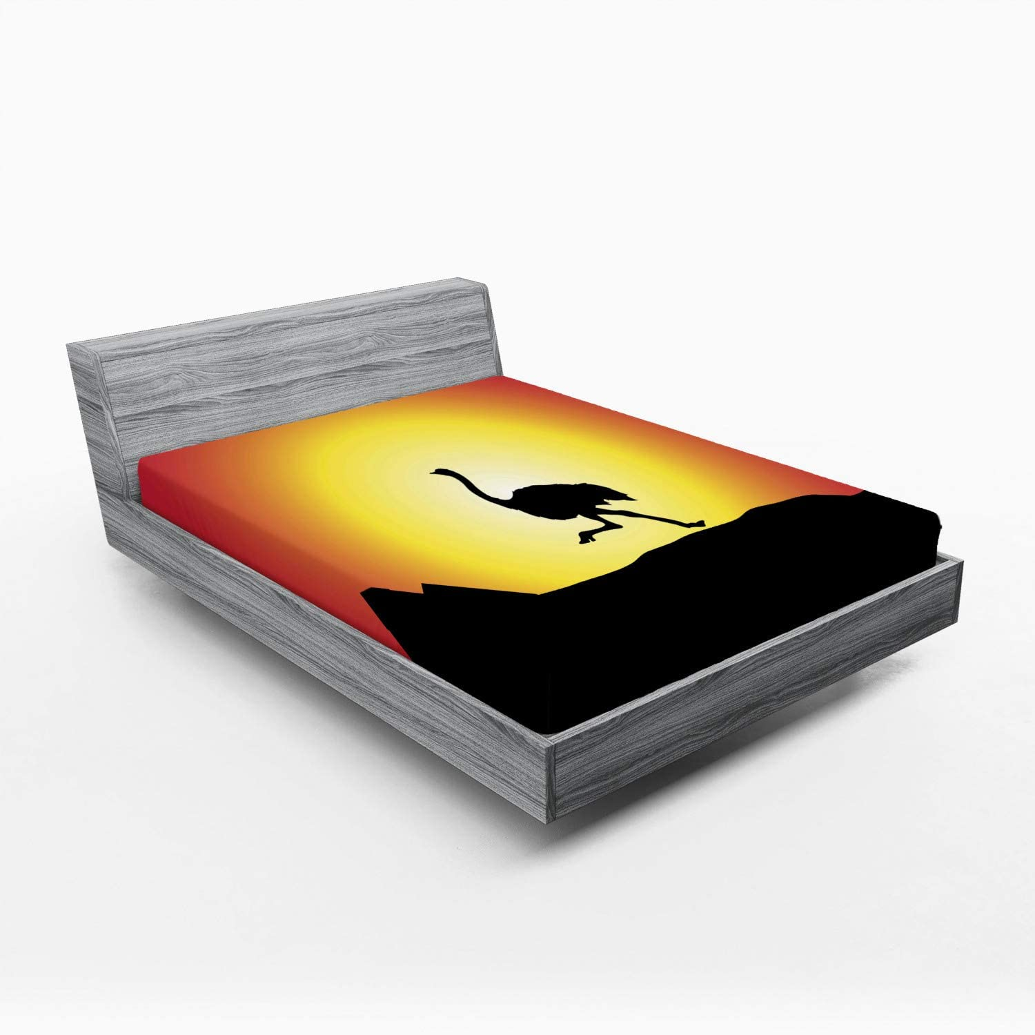 Ambesonne Ostrich Fitted Sheet Silhouette Wild Max 79% Bombing free shipping OFF Animal Runnin of