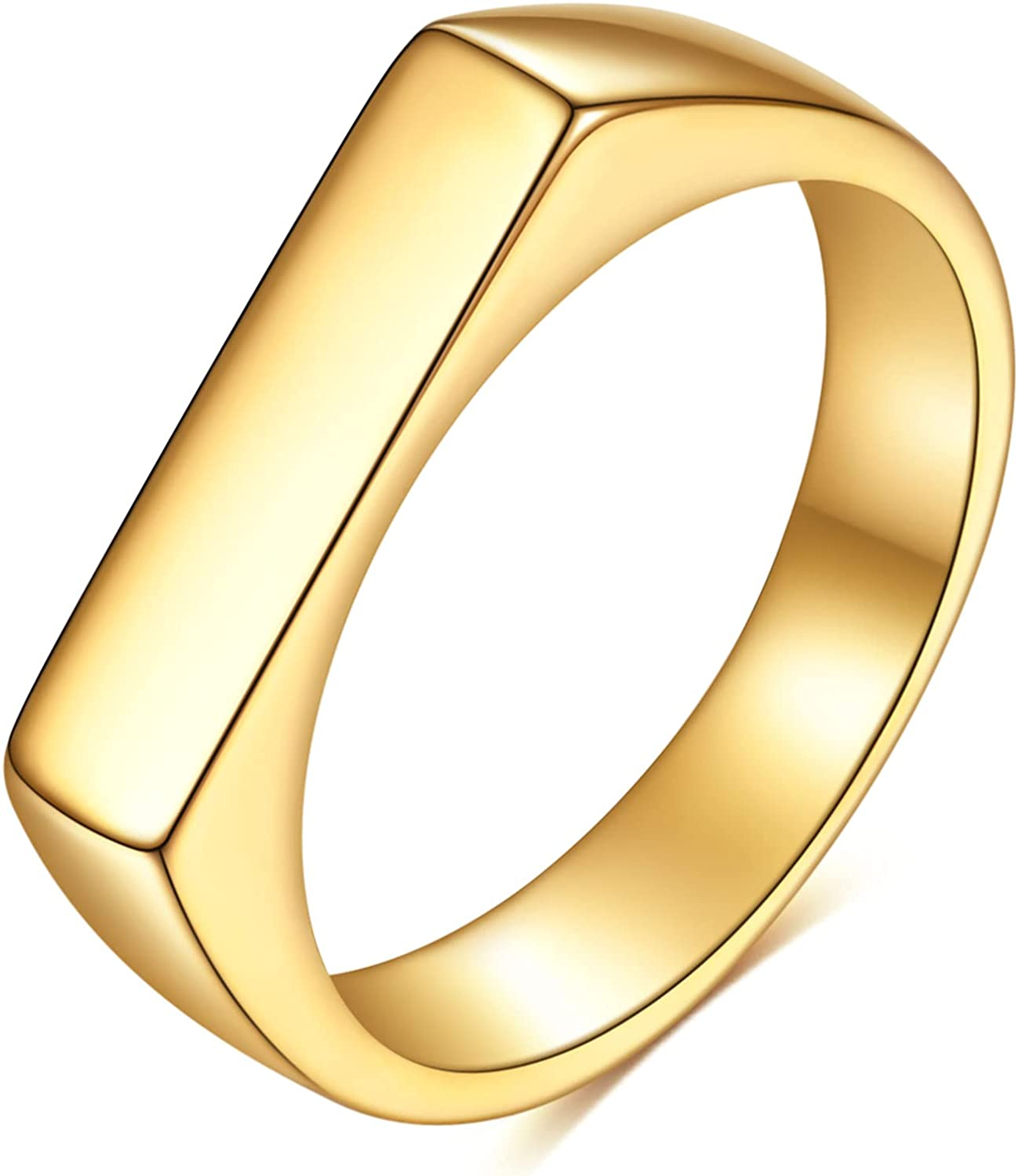 4mm 18K Gold Plated Stainless Steel Stackable Geometrical Shape Wedding Band Ring