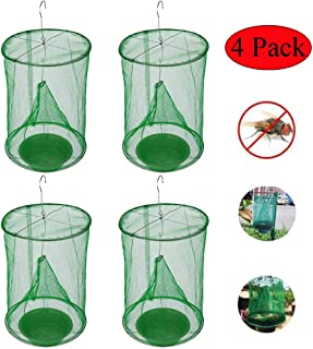 LKAN Ranch Fly Trap with Bait Tray Flay Catcher Reusable Fly Catcher Cage for Indoor or Outdoor Family Farms, Park, Restaurants (4 Pack)