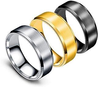 خواتم الفولاذ المقاوم للصدأ للرجال أزياء بسيطة خاتم الزفاف 3 قطع عرض 8 مم الفضي والأسود الذهبي ، الحجم 6-11