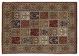 TIWA GHOM echter klassischer Orient-Felder-Teppich handgeknüpft in rot-creme, Größe: 80x150 cm