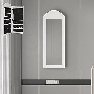 ML-Design smyckesskåp, vit, väggskåp med spegel och många fack, 35 x 95 x 9 cm, väggmontering, för kedjor, örhängen, ringa...