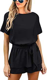 Women's Casual V Neck 3/4 Bell Sleeve Belted Chiffon One Piece Romper Shorts
