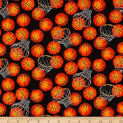 Basketballs Black/Orange, Quilting Fabric by the Yard