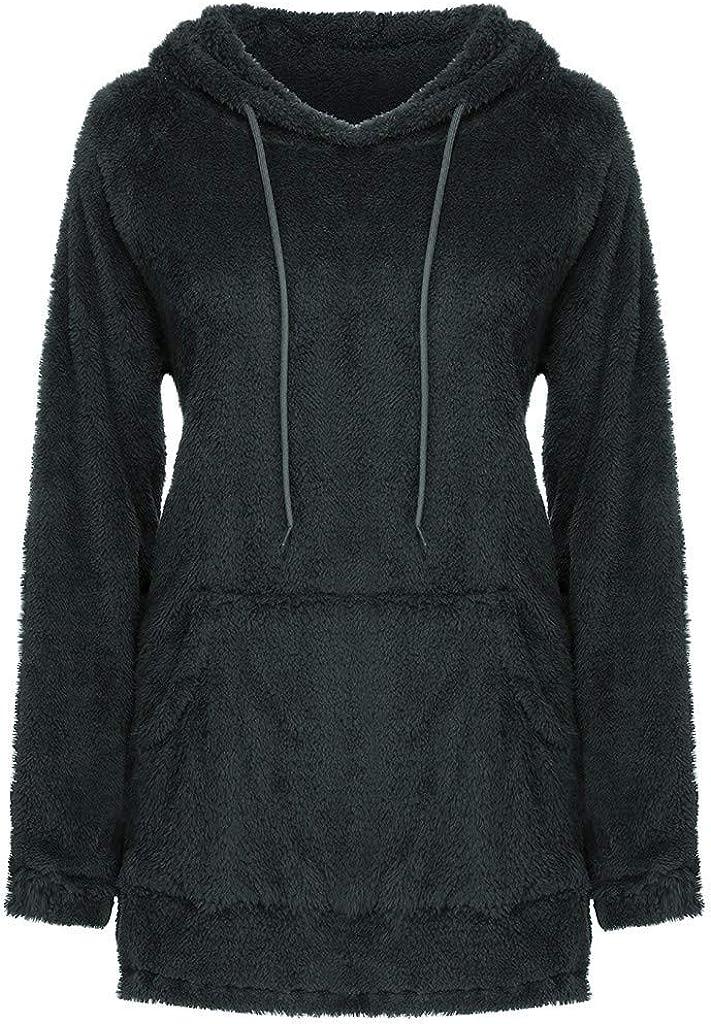 GreatestPAK Damen Fleece Hoodie Langarm Kordelzug Taschen Sweatshirt Einfarbig Warm Plüsch Pullover Übergröße Schwarz