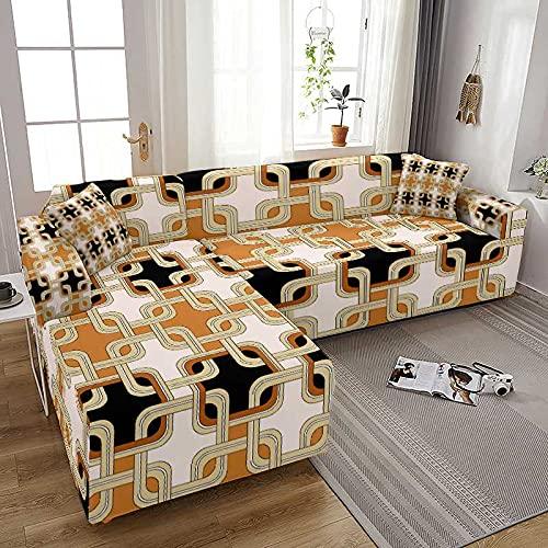 WXQY Funda de sofá elástica para Sala de Estar Todo Incluido Spandex Funda de sofá en Forma de L Fundas para sofá Fundas para sillones Funda para sillones A1 4 plazas