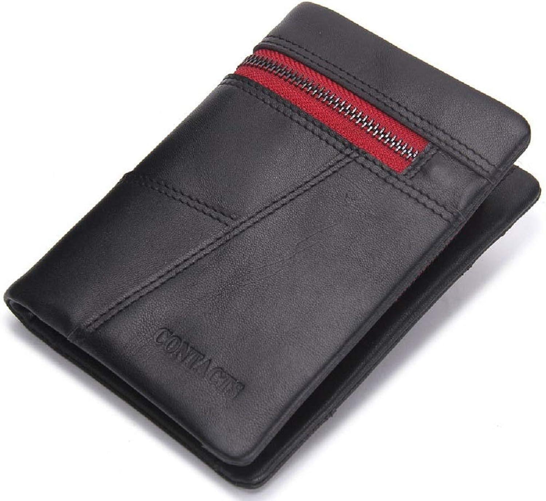 WFF Herrenportemonnaie, dreifache Geldbörse aus Leder, Nähte aus europäischer und amerikanischer Mode B07N4LTPW8
