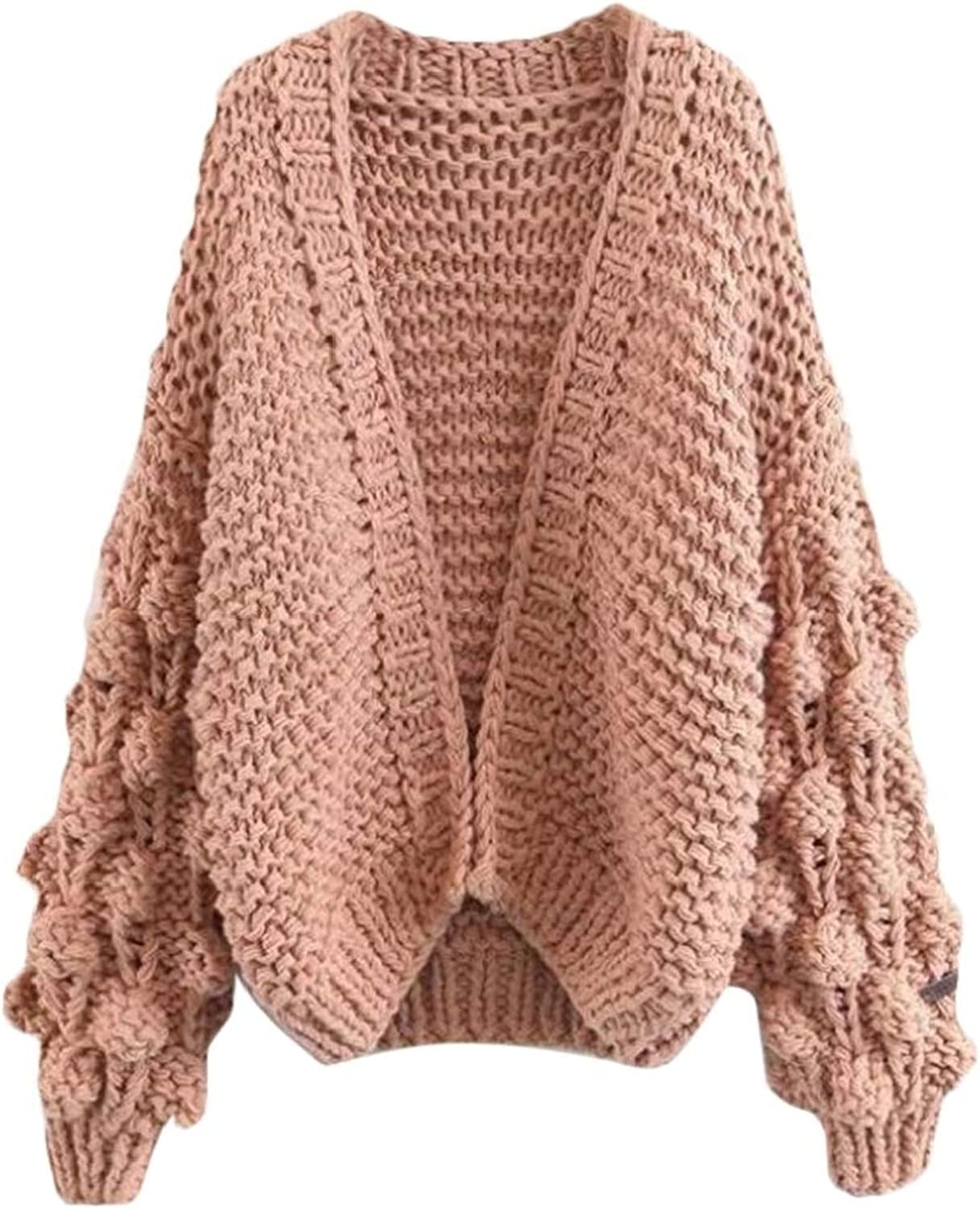 Zantt Women Puff Sleeve Kint RelaxedFit Solid color Cardigan Sweater