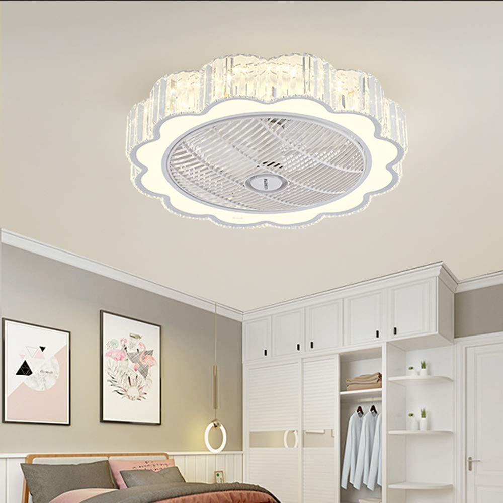 Buy Qzfh Invisible Ceiling Fan With Light Remote Control Led Dimmable Lighting Modes 3 Wind Speeds Semi Flush Mount 24 Inch 40w Low Profile Enclosed Blade Mute Fan Lights For Kitchen Living