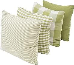 Throw Pillow Covers Cases Geometric Stripe Tartan Checkered Buffalo Check Plaid Pillowcases Cushion Covers Decorative Throw Pillow Covers Waist Pillow Covers Cotton Linen,Set of 4 (Green (18x18))