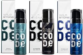 Wild Stone Code Chrome, Steel and Titanium Body Perfume Combo for Men, Multi, Fresh, 120 ml, Pack of 3