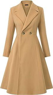 Women Swing Double Breasted Wool Pea Coat Winter Long Overcoat Jacket