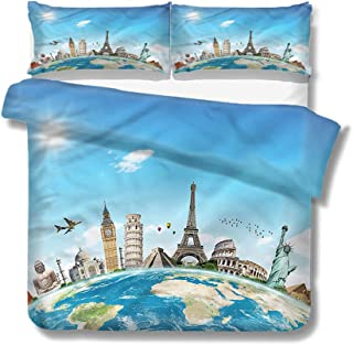Queen Size Duvet Cover Set Travel,Famous Monuments Landmarks for Kids/Teens/Adults Hidden Zipper Quilt Cover Printed