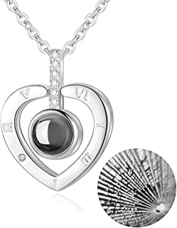 M MOOHAM Custom Heart Necklace - I Love You Necklace 100 Languages for Women Girls, Love Necklace Nanotechnology Onyx Pendant Necklace Best Gift for Mother