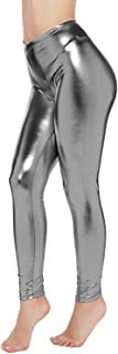 Abyelike Womens Sexy Shiny Faux Leather Leggings Wet Look Metallic Waist Legging Pants Trousers
