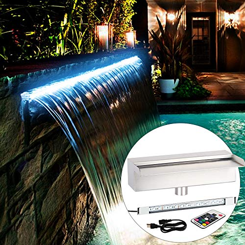 YUDA 24' LED Pool Fountain With 7 Color Changing, Stainless Steel Waterfall Spillway For Sheer Descent Garden Ourdoor