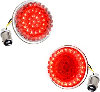 NTHREEAUTO for Harley LED Turn Signal, Smoked 2 Inch Bullet 1157 Red Brake Running Light fit Dyna, Street Road Glide, Sportster, Road King, Softail, Touring