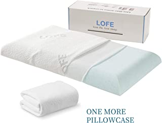 Lofe Gel Infused Memory Foam Pillow for Stomach Sleepers: Hypoallergenic with Washable Bamboo Cover - Thin, Flat, Soft, Slim, Therapeutic and Ergonomic for Spinal Support and Improved Breathing