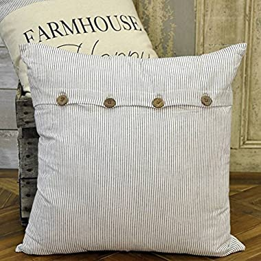 Ticking Stripe Pillow Cover, 20 x 20, Farmhouse Style Black Ticking