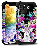 iPhone 11 Pro Case,ZHOGTNEG Water Transfer Printing Series Case for iPhone 11 Pro 5.8 inch, 3-in-1 Hard PC & Soft Silicone Design with Skid-Proof Shockproof Heavy Duty Protective Case -Spiritual Deer