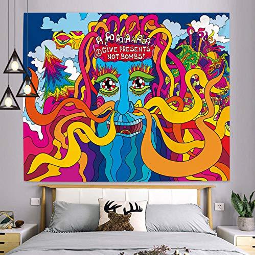 Tapiz Psicodélico De Color Para Colgar En La Pared, Esterilla De Yoga, Toalla De Playa, Manta, Dormitorio, Dormitorio, Decoración De Arte De Pared Para El Hogar (150X200 Cm) 79X59 Pulgadas