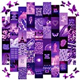 ARTIVO Purple wall collage kit aesthetic pictures, 50 Set 4x6 with butterflies, Purple Black aesthetic collage kit for wall images, posters for room aesthetic girls, Cute wall decor for teen