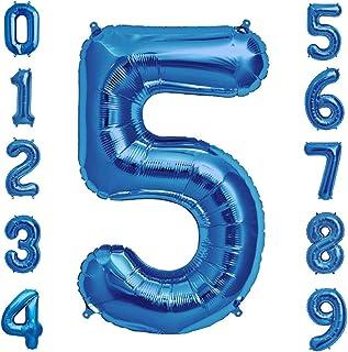 Tellpet Globo con número azul marino para decoración de