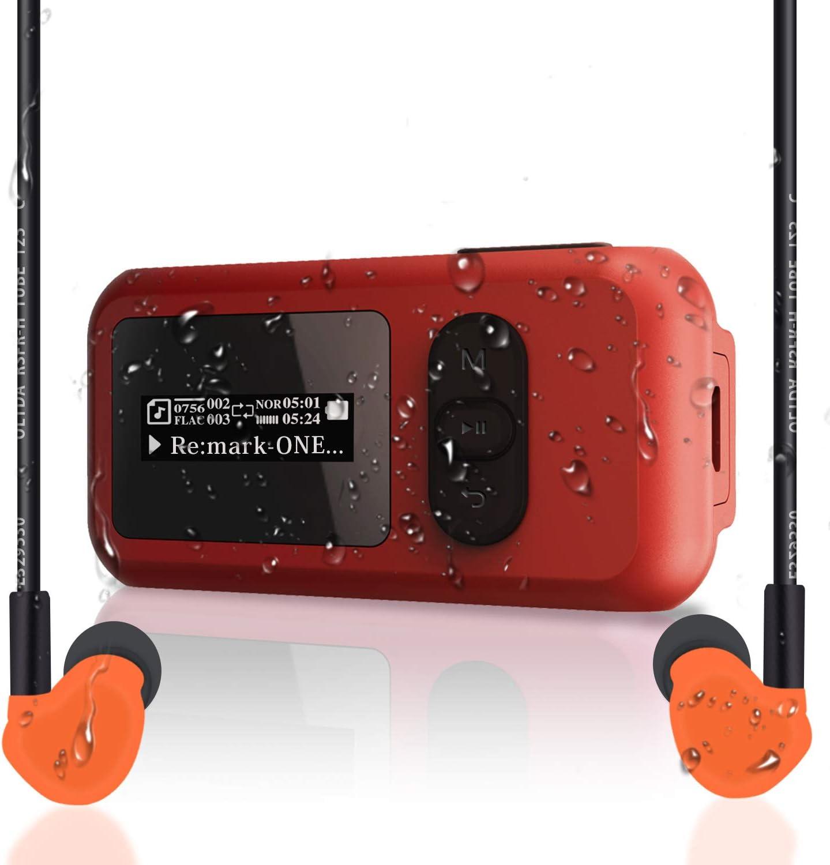 avec Fonction de Radio FM et de Podom/ètre Clip Rotatif Lecteur MP3 de Natation /Étanche de Niveau IP68 de 8 Go avec /Écran Plus de 10 Heures de Lecture Immersible jusqu/à 3 m Port USB