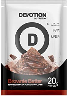 Devotion Nutrition Whey Protein Powder Blend, Brownie Batter Flavor, 20g Protein, No Added Sugars, 12 Single Serving Packe...