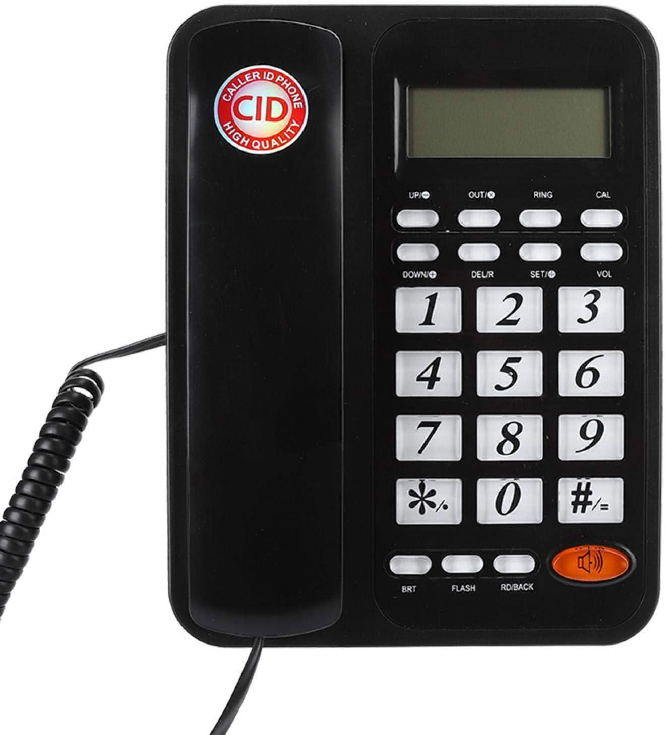 Socobeta Desktop Corded Landline Telephone Corded Telephone Wall Hanging Desktop LCD Screen Display with Speakerphone for Home Office