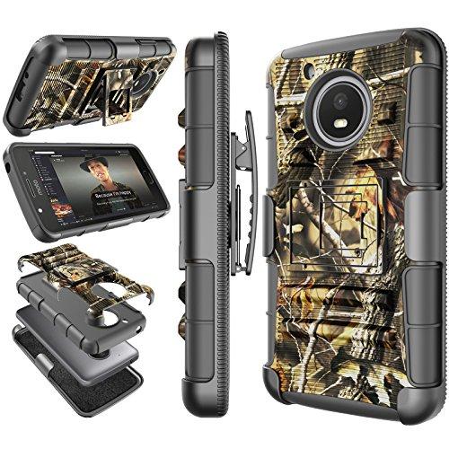 Tekcoo Moto E4 Plus Case, Tekcoo 2017 Motorola Moto E Plus 4th Generation Holster Clip, [Hoplite] Shock Absorbing [Camo Leaf] Swivel Locking Belt Full Body Kickstand Carrying Camouflage Cases Cover