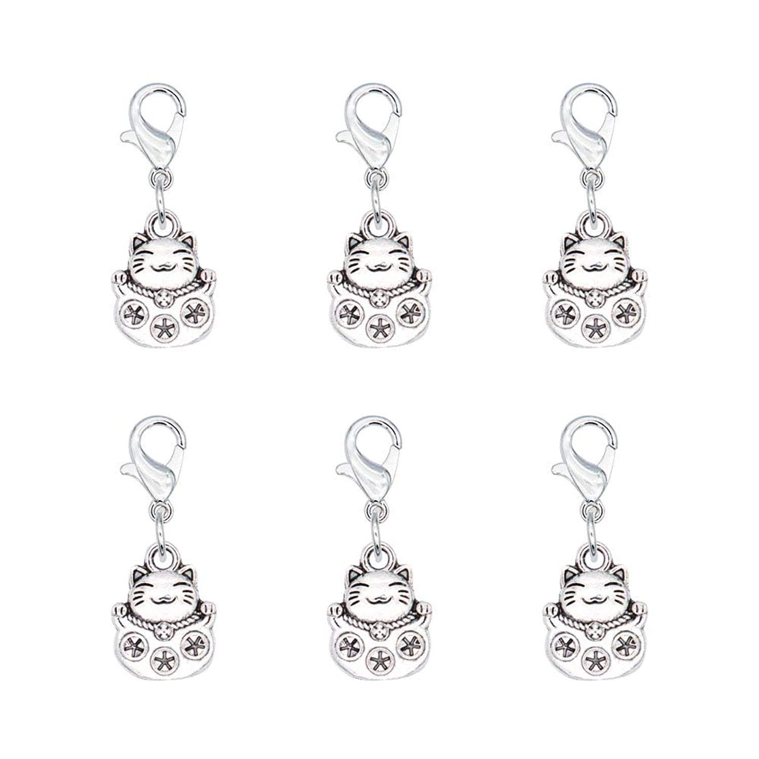 Ascrafter Plutus Cat Zipper Pull Charms, Set of 6 Lucky Cat Stitch Markers for Knitting, Crochet Markers, Pet Purse Charms, Jewelry Charm Pendant