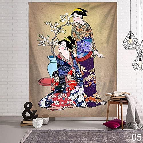 KHKJ Kanagawa Waves Ballena Tapiz Colgante japonés Arowana Carpa Ciervo Totem Decoración de Pared Tapices Manta Decoración para el hogar A5 200x150cm
