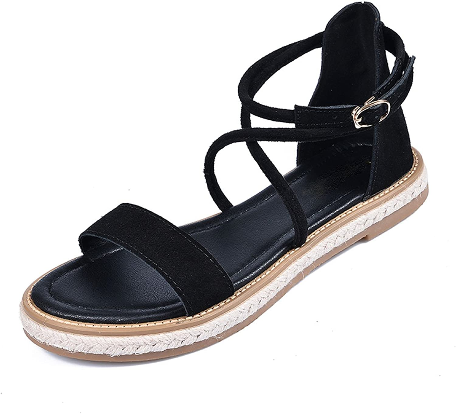 Gracosy Ankle Platform Fisherman Sandals,Women's Slim Ankle Straps Flat Cute Elastic Open Toes Sandals