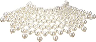 XBY-Jewel 6 Color Chunky Statement Necklace, Strand-Necklace Simulated Pearls Choker Neckcklace for Women Bib Costume Jewelry