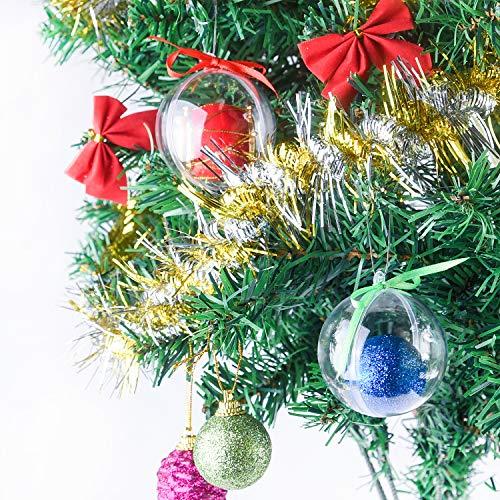 FEPITO 20 Piezas de Adornos navideños rellenables, Bolas de plástico Transparente, Adornos...