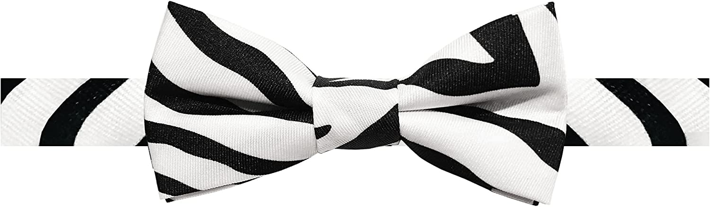 Jacob Alexander Boys' Zebra Animal Print Black and White Pre-Tied Adjustable Banded Bow Tie