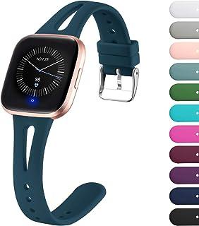 Ouwegaga Vervangende Bandje Compatibel met Fitbit Versa Bandje/Fitbit Versa 2 Bandje, Zachte Siliconen Smalle Bandje Compa...