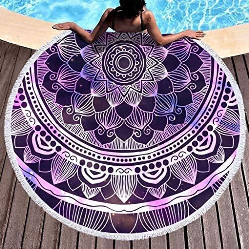 XJJ88 - Toalla de playa redonda con mandala mágica, fácil de limpiar, diseño de mandala, 150 cm, color blanco